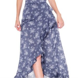 Flowing, Ruffle Long Skirt With Floral Print